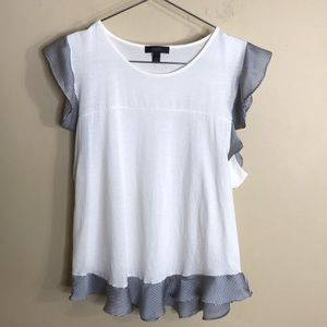 J crew short sleeve T-shirt with ruffle sleeves